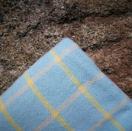 Chequered Duck Egg And Yellow Wool Blanket / Throw